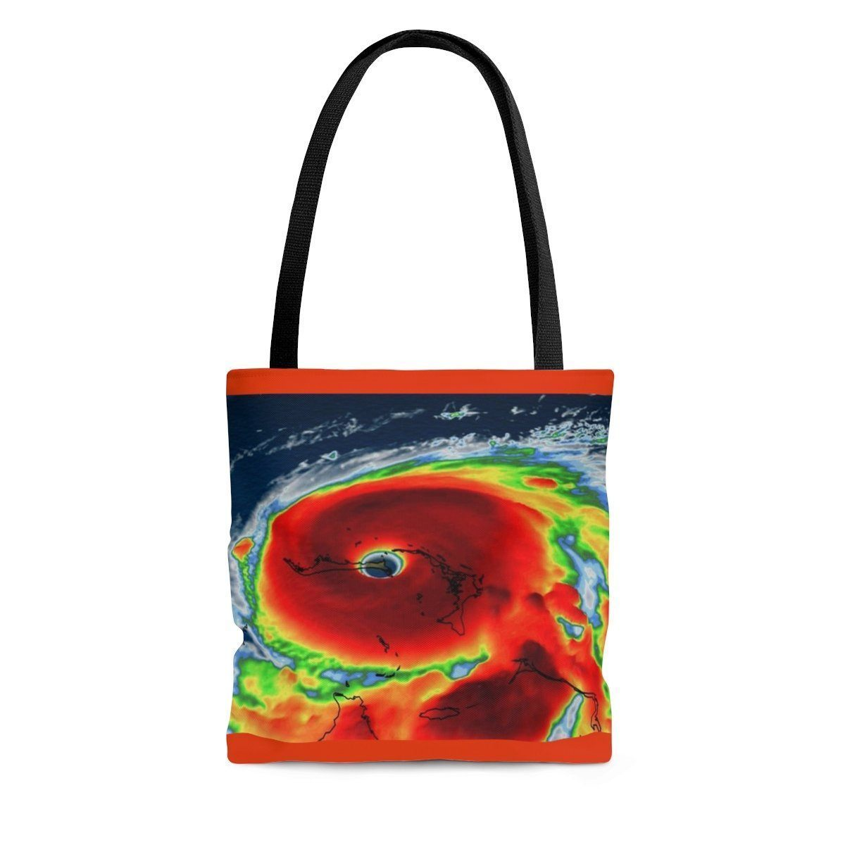 Send a message - AOP Tote Bag - Hurricane Dorian approaches the East Coast while Trump plays Golf (and how!) - and Keeling CO2 chart Bags Printify