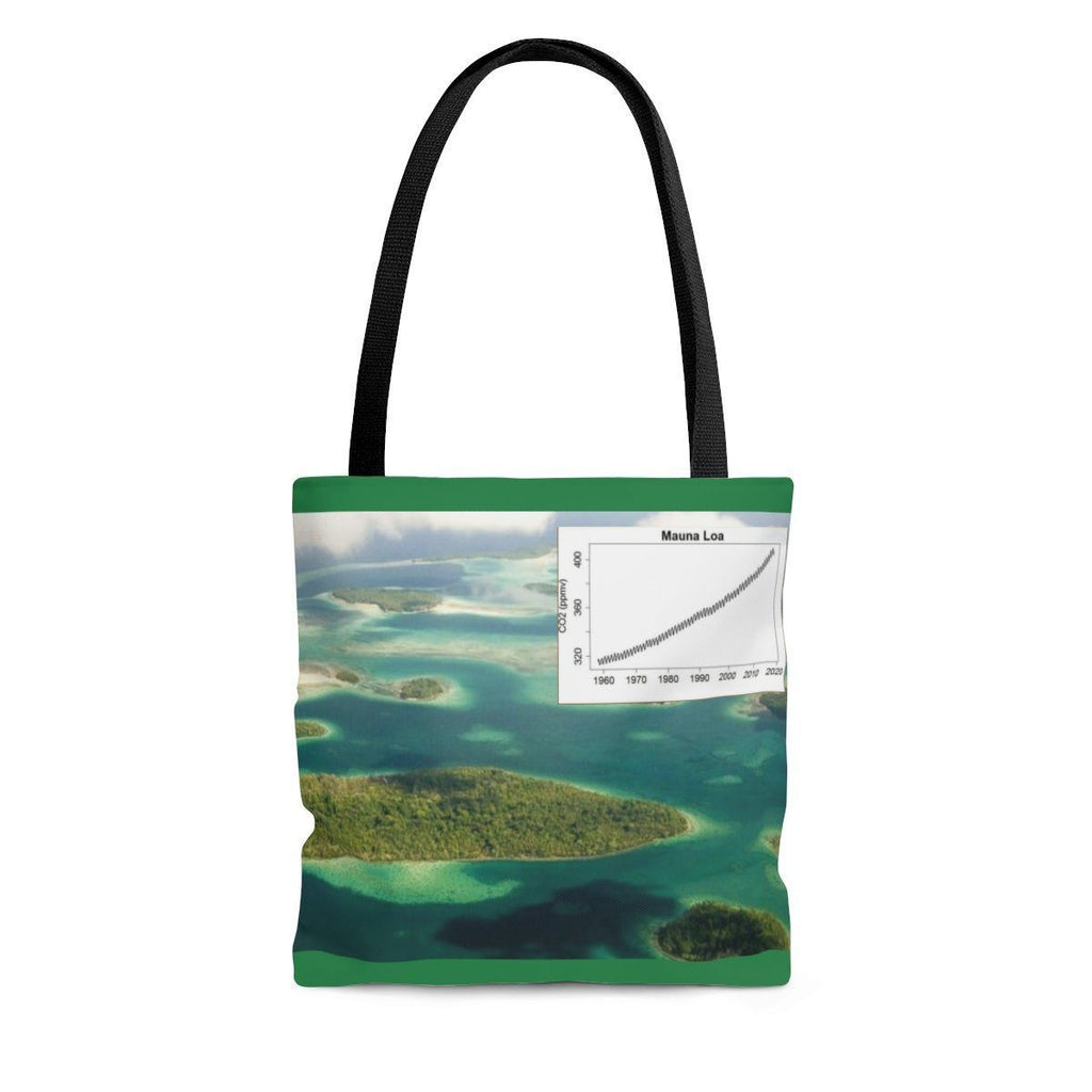 Send a Message AOP Tote Bag - The new world of extremes - 5 of these Solomon Pacific Islands are now lost under water, keeling chart and polar melting Bags Printify