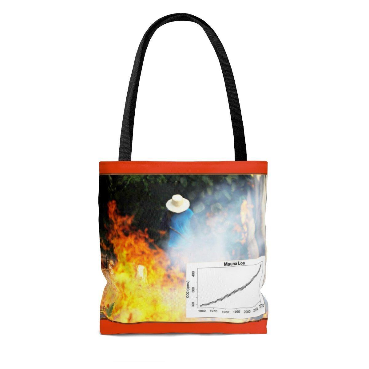 Send a Message AOP Tote Bag - The new world of extremes - Massive Amazon fires and Keeling curve - Amazon forest fires Bags Printify