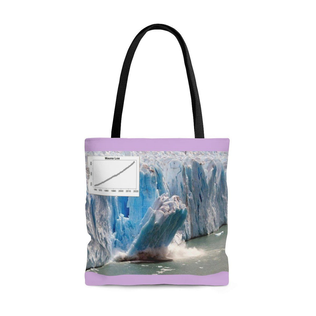 Send a Message AOP Tote Bag - The new world of extremes - Massive polar ice melting and the Keeling curve Bags Printify