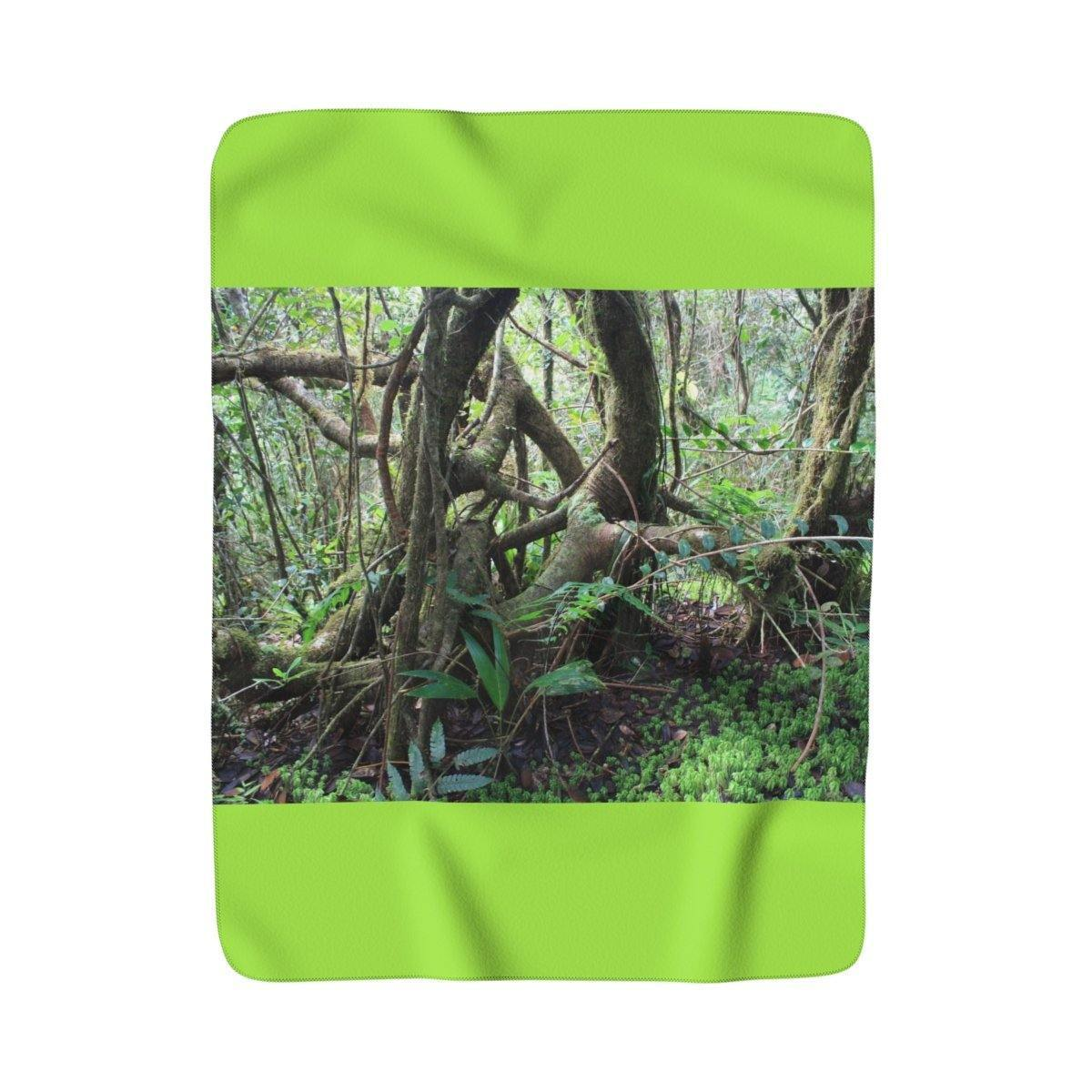 Sherpa Fleece Blanket - Dancing trees in cloud forest - El Yunque rain forest PR Home Decor Printify