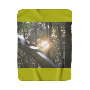 Sherpa Fleece Blanket - Sunset in cloud forest - El Yunque rain forest PR Home Decor Printify