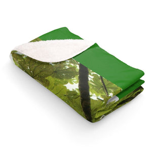 Sherpa Fleece Blanket - The Yagrumo tree leaves - El Yunque rain forest PR Home Decor Printify