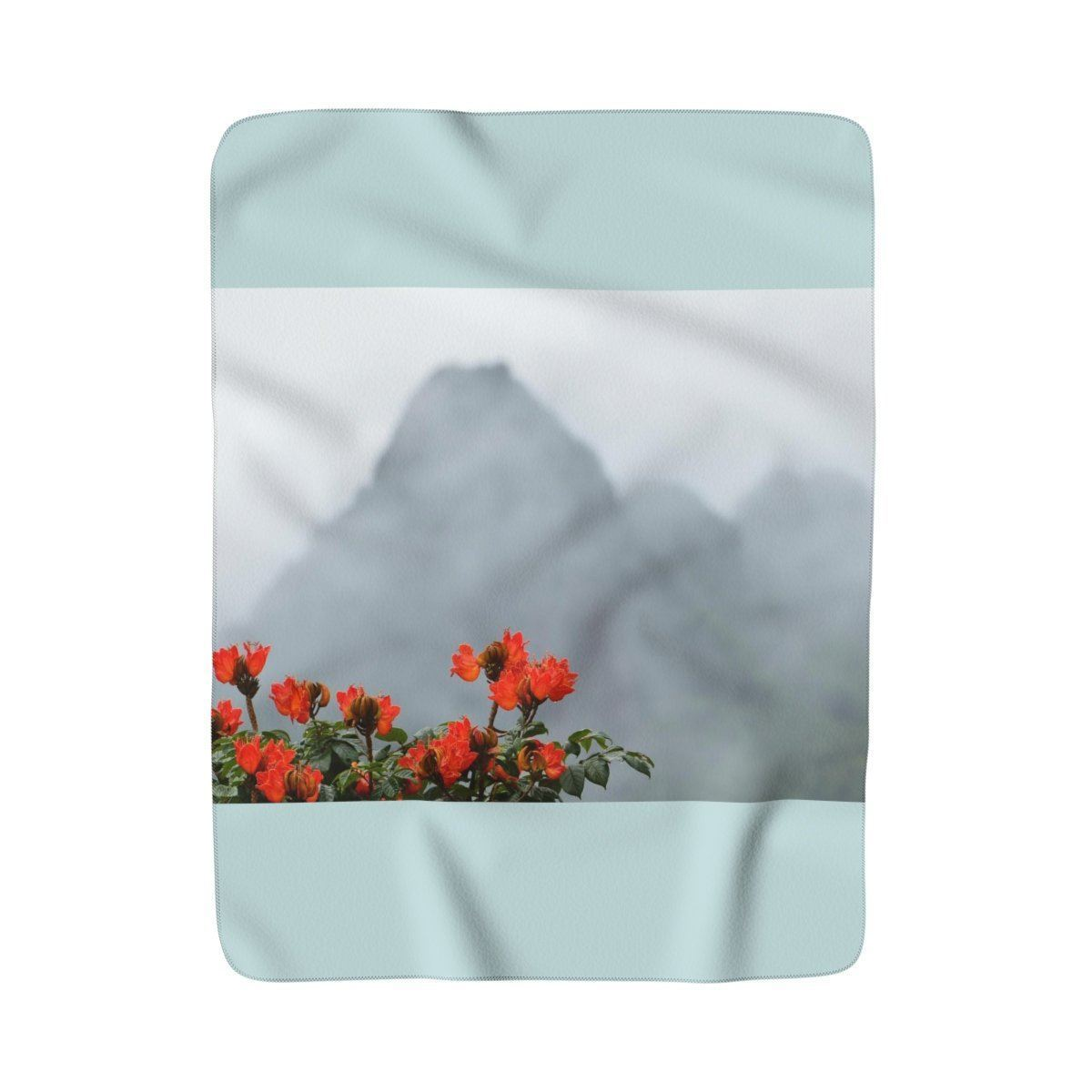 Sherpa Fleece Blanket - View from Yokahu tower after a storm - El Yunque rain forest PR Home Decor Printify