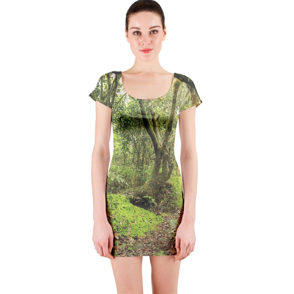 Short Sleeve Bodycon Dress - Unique Paradise Path in 14km Tradewinds Trail - El Yunque rainforest Puerto Rico - Yunque Store