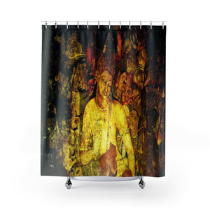Shower Curtains - Awesome art in the cave walls of Ajanta - India - Yunque Store