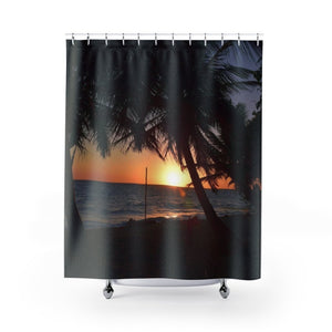 Shower Curtains - Awesome sunset in remote Mona island - PR - Yunque Store