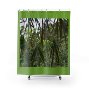 Shower Curtains - Bamboo leaves and forest in mountain on Rio Sabana Park - El Yunque rain forest PR - Yunque Store