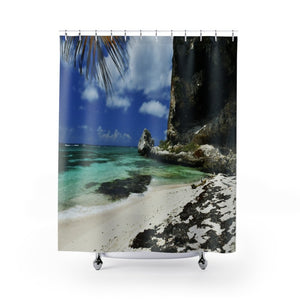 Shower Curtains BEACH@HOME - US MADE -- Remote & Pristine Mona Island near Puerto Rico - Yunque Store
