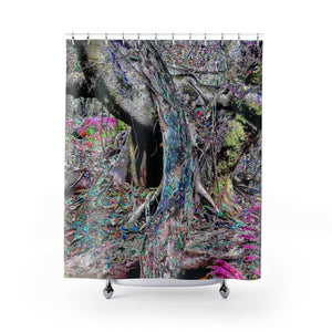 Shower Curtains - Color-Mapped - Old pal laying on friend - tree grabs a decaying tree on right side - next to Tradewinds - El Yunque rainforest PR - Yunque Store