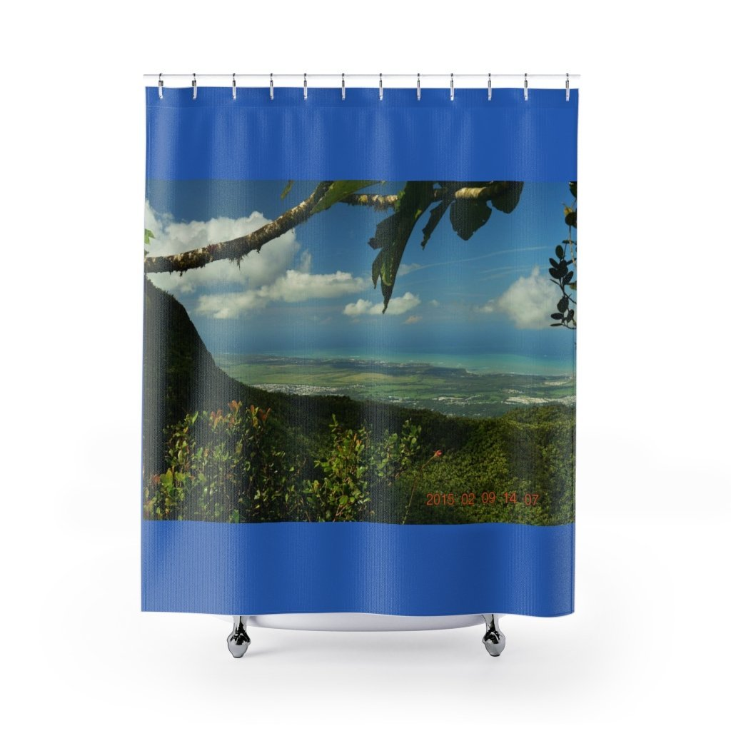 Shower Curtains - El Yunque rainforest PR - view from peak of the eastern coastline - Yunque Store