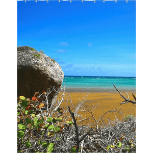 Shower Curtains ID#105 - 4 sizes - Awesome remote Mona Island - Pajaros beach with algae - near Puerto Rico - Yunque Store