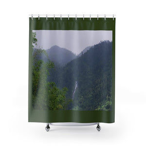 Shower Curtains - Mountain forest and waterfall on Rio Sabana Park - El Yunque rain forest PR - Yunque Store