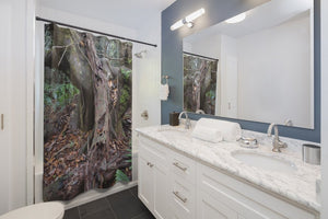 Shower Curtains - Old pal laying on friend - tree grabs a decaying tree on right side - next to Tradewinds - El Yunque rainforest PR - Yunque Store