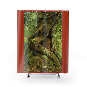 Shower Curtains - Parasite tree that grows over an old Palo Colorado (red tree) in 14km Tradewinds trail - El Yunque rainforest PR - Yunque Store