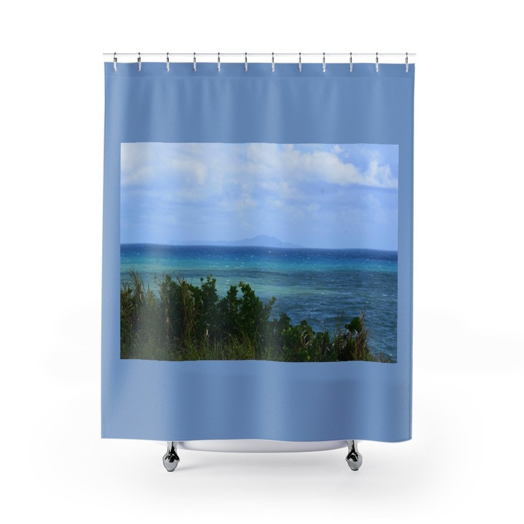Shower Curtains - Rocky beach and coast in Palmas de Mar Housing complex - Puerto Rico - Yunque Store