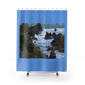 Shower Curtains - Rocky beach and coast in Palmas de Mar Housing complex - Puerto Rico Home Decor Printify