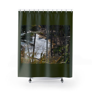 Shower Curtains - Rocky beach in Palmas de Mar Housing complex - Puerto Rico Home Decor Printify