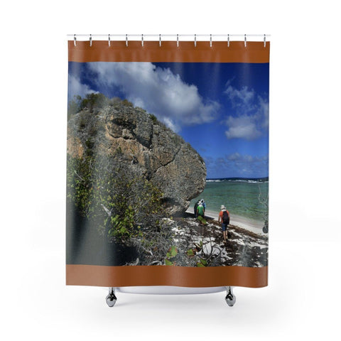 Shower Curtains - UNIQUE & PRISTINE - New Mona Island Images - remote 7x7 km island 50 miles from Puerto Rico Home Decor Printify