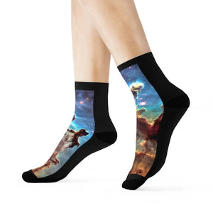 SPACE SOCKS (SS) - Crew Socks - Cosmic dust and gas make up part of the Eagle Nebula - NASA All Over Prints Printify
