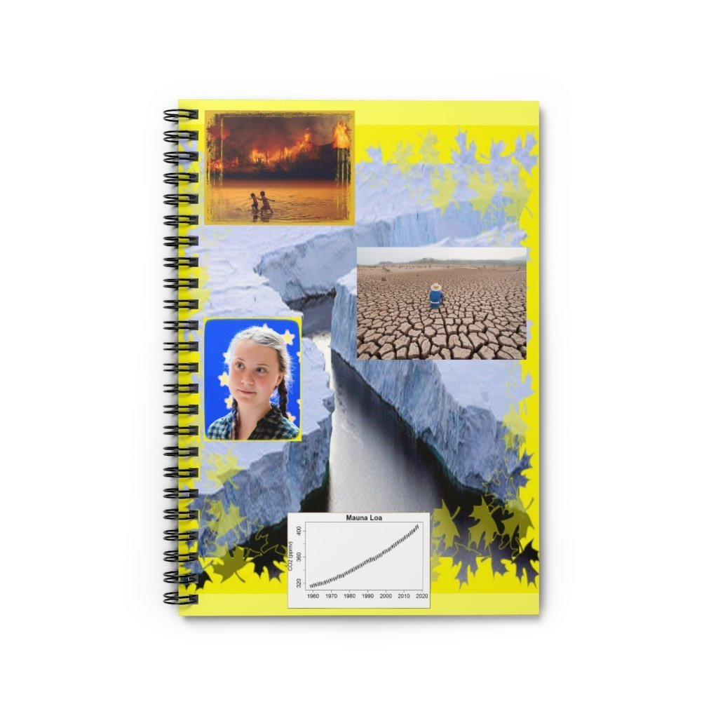 Spiral Notebook - Ruled Line - Greta in the UN climate conference and effects of polar melting due to Global Warming, and the CO2 Keeling curve - Yunque Store