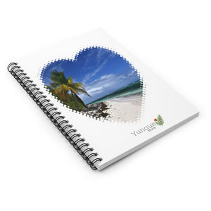 Spiral Notebook - Ruled Line - Mona Island remote Puerto Rico paradise - heart shaped - Yunque Store