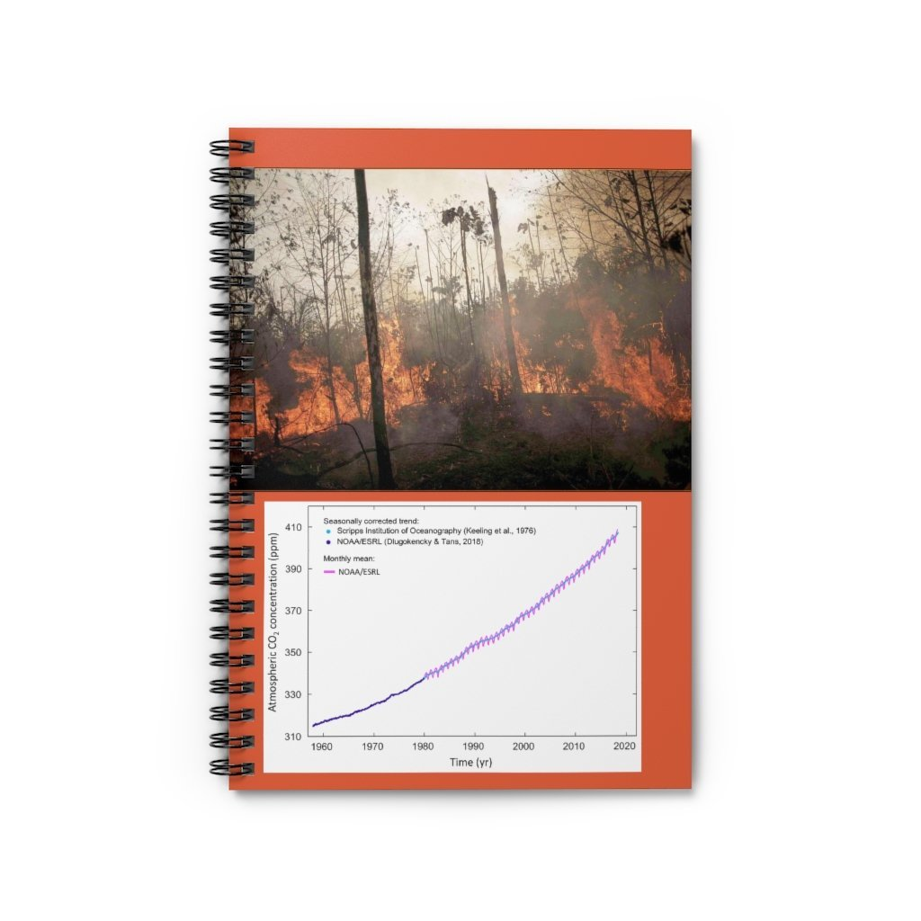 Spiral Notebook - Ruled Line - Todays lesson - Global Warming and Keelings CO2 Curve! Amazon on fire. - Yunque Store