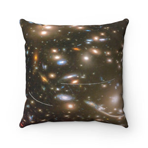 Spun Polyester Square Pillow - AMAZING Hubble DEEP FIELD Galaxy cluster - NASA, HUBBLE - Yunque Store