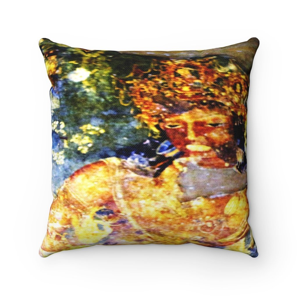 Spun Polyester Square Pillow - Ancient murals from the Sacred Ajanta caves of India - Yunque Store