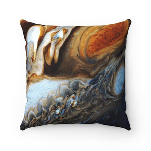 Spun Polyester Square Pillow - Awesome planet Jupiter BIG red spot and storms - NASA HUBBLE - Yunque Store