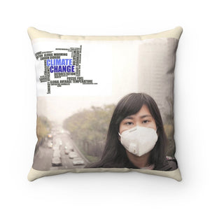 Spun Polyester Square Pillow - Global Warming - Burning forests and uncontrolled pollution from cars and factories - Yunque Store