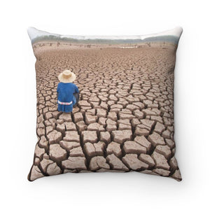 Spun Polyester Square Pillow - Global Warming - droughts strike the planet as never before due to co2 growth - Yunque Store