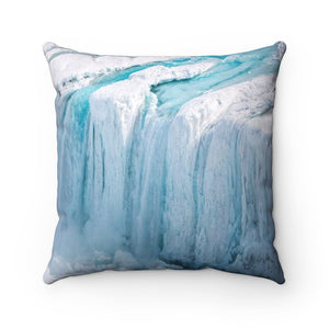 Spun Polyester Square Pillow - Global Warming - Keeling curve and Polar ice melting FAST! - Yunque Store