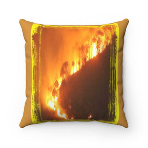 Spun Polyester Square Pillow - Global Warming - Keeling curve and the Amazon forest burning - Yunque Store