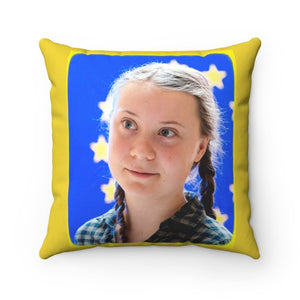Spun Polyester Square Pillow - Global Warming - The Great Thunder - Greta from Sweden awakened a movement - Yunque Store