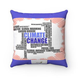 Spun Polyester Square Pillow - Global Warming - the multiple facets of climate change and co2 growth - Yunque Store
