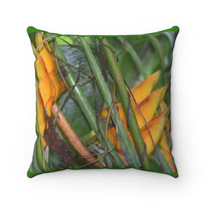 Spun Polyester Square Pillow - Heliconia flower & plant in Rio Sabana exploration 9-2019 - Yunque Store