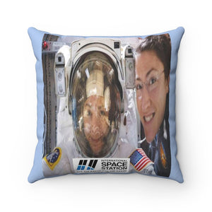 Spun Polyester Square Pillow - History - NASA Astronauts Christina and Jessica the first ever spacewalk with an all-women team - Yunque Store