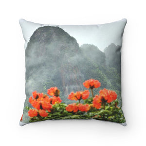 Spun Polyester Square Pillow - Holy mountains of Puerto Rico - El Yunque - Yunque Store