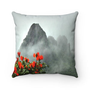 Spun Polyester Square Pillow - Holy mountains of Puerto Rico - El Yunque Yokahu tower view - Yunque Store