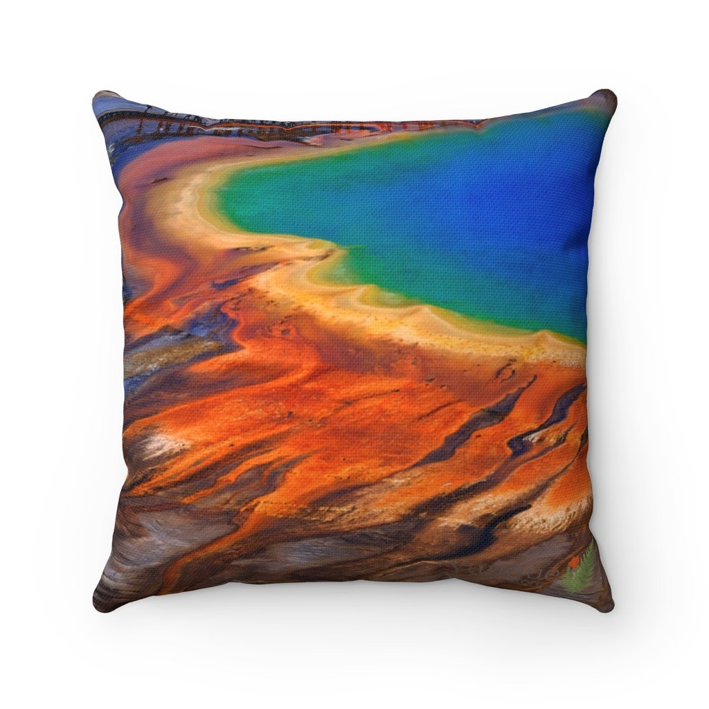 Spun Polyester Square Pillow - HOT 😲 - Yellowstone Park Calderas and Thermal Springs - Wyoming - USA - Yunque Store