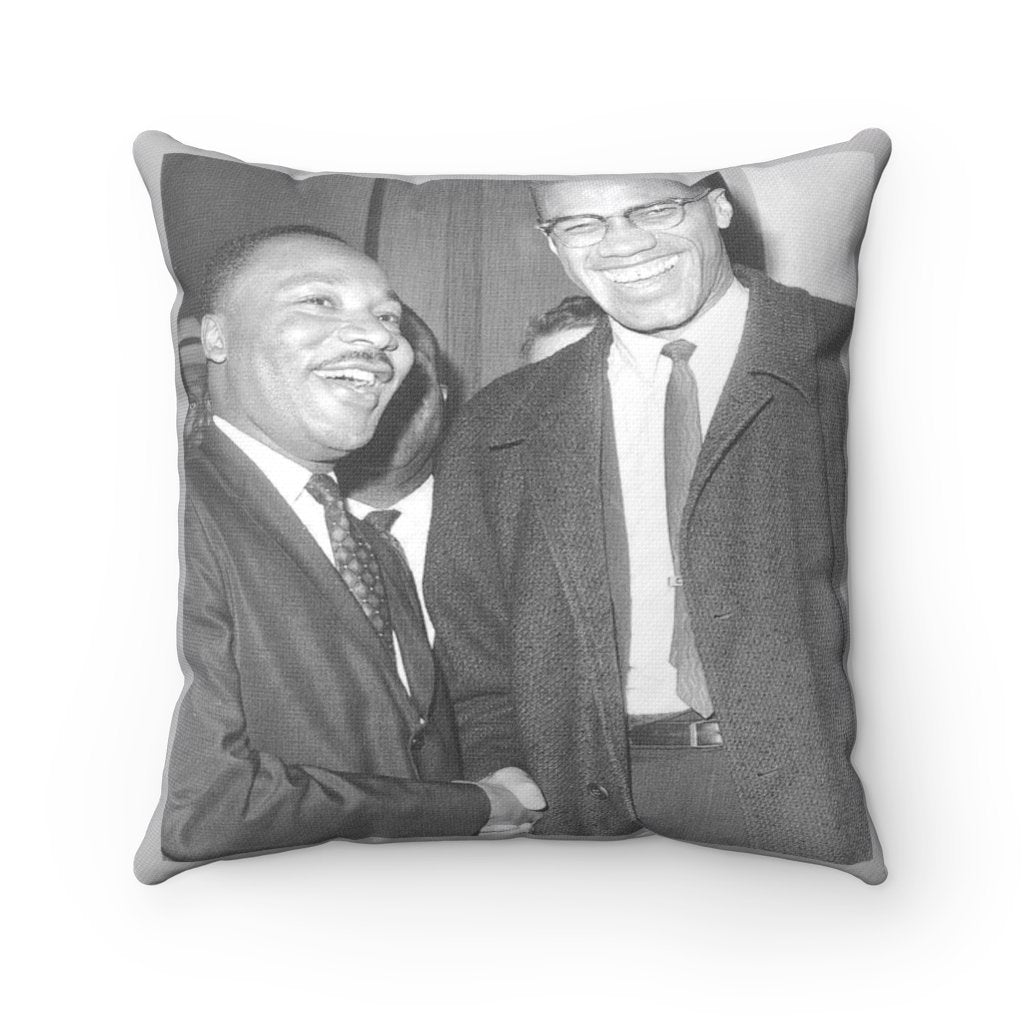 Spun Polyester Square Pillow - Muslim revolutionary Malcom X and Dr Martin Luther King Jr Nobel Peace Prize 1964 - Yunque Store