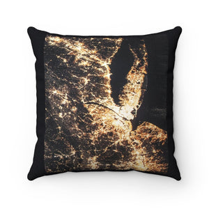 Spun Polyester Square Pillow - New York metro region from space - ISS - NASA images - Yunque Store