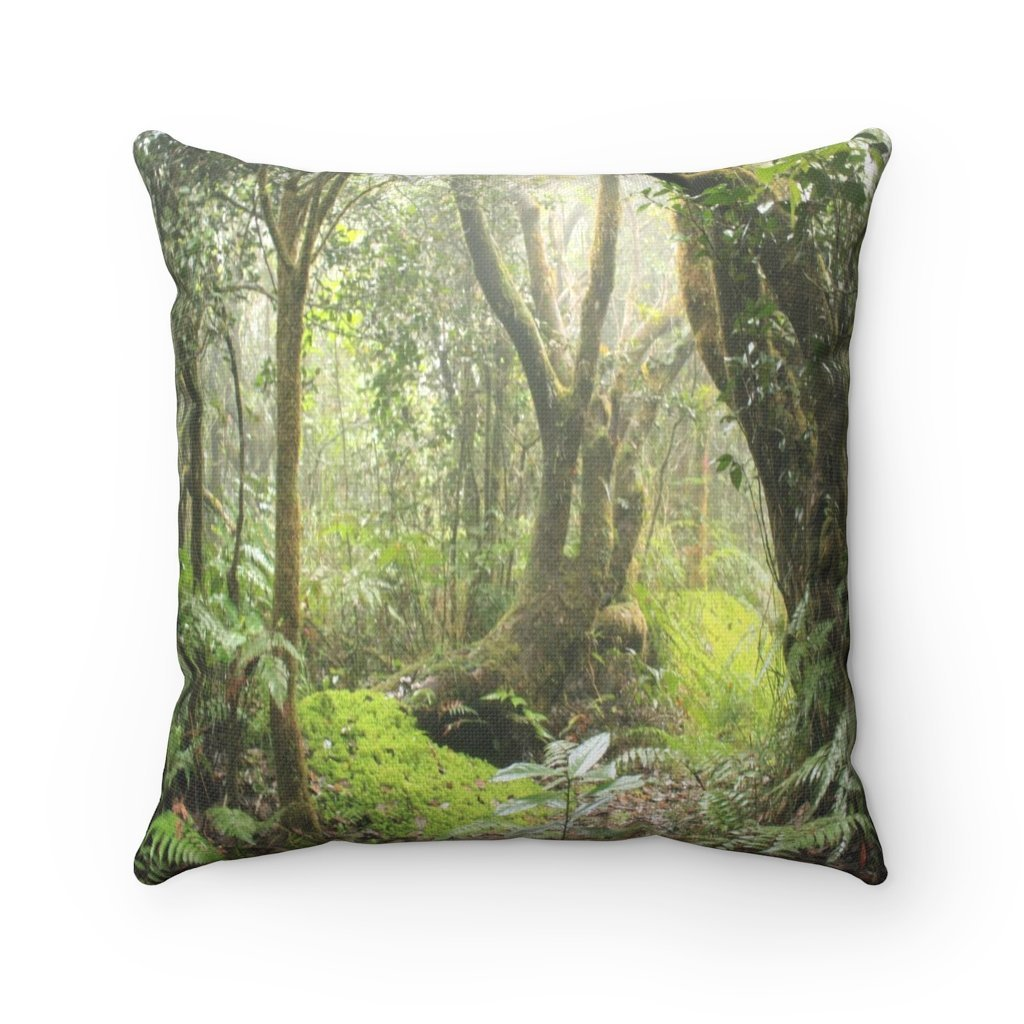 Spun Polyester Square Pillow - Related to the Holy River Spirit explorations or Tradewinds trail - El Yunque PR - Yunque Store