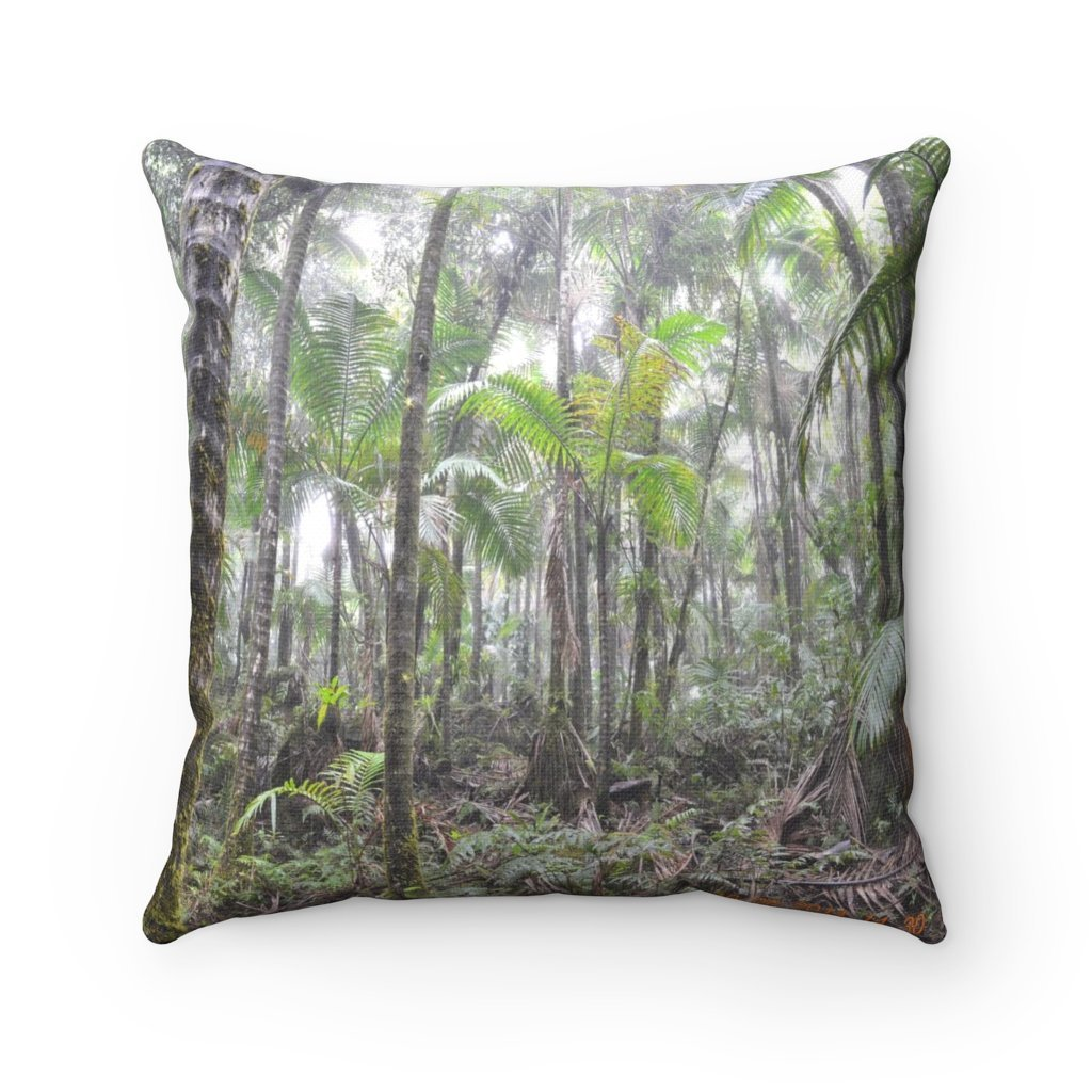 Spun Polyester Square Pillow - Related to the Holy Spirit River explorations or Tradewinds trail - El Yunque PR - Yunque Store