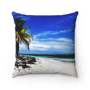 Spun Polyester Square Pillow - Remote Mona island - Puerto Rico - Yunque Store