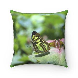 Spun Polyester Square Pillow - River butterfly - El Yunque - Puerto Rico - Yunque Store