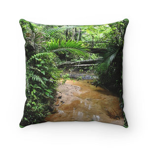 Spun Polyester Square Pillow - River stream in Rio Sabana exploration 9-2019 - Yunque Store