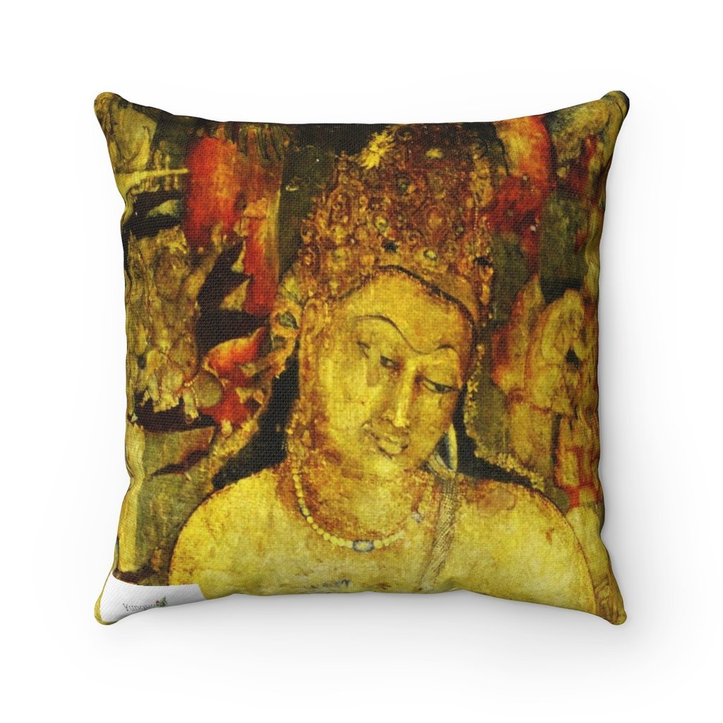 Spun Polyester Square Pillow - Sacred AjantaTemples of Ancient India - Yunque Store