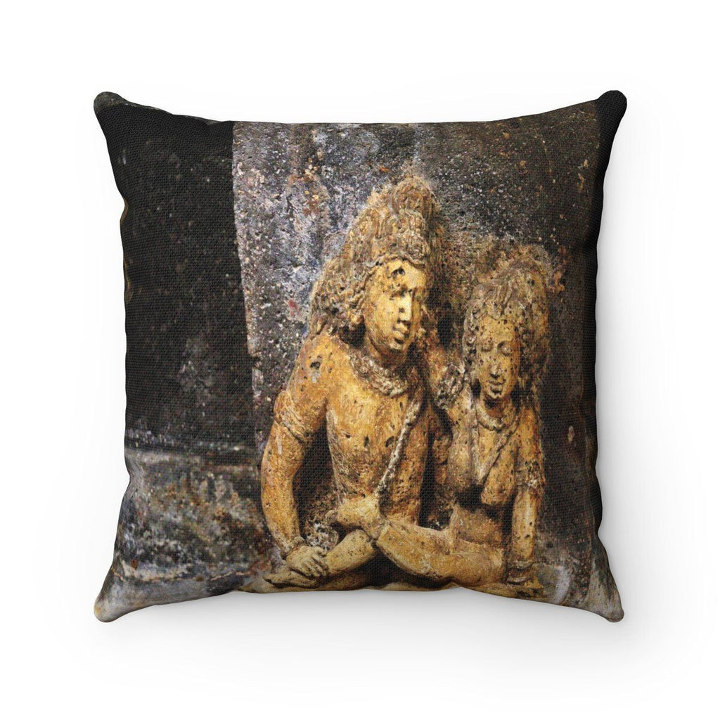 Spun Polyester Square Pillow - Sacred Tantric Temples of Ancient India - Mature Only Home Decor Printify